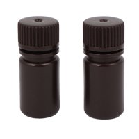2Pcs 15ml Plastic Wide Mouth Laboratory Reagent Bottle Sample Bottle Brown