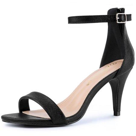 Women's Open Toe Ankle Strap Kitten Heel Sandals Black Black Open Toe Ankle Strap