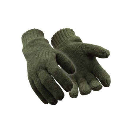 Insulated Ragg Wool (RefrigiWear Warm Fleece Lined Thinsulate Insulated 100% Ragg Wool Gloves Green)