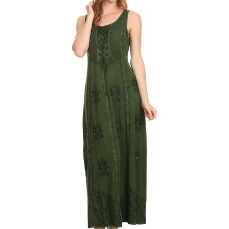 Sakkas Stella Long Tank Top Adjustable Caftan Corset Dress With Embroidery - Green - L/XL (Halloween Corset Dresses)