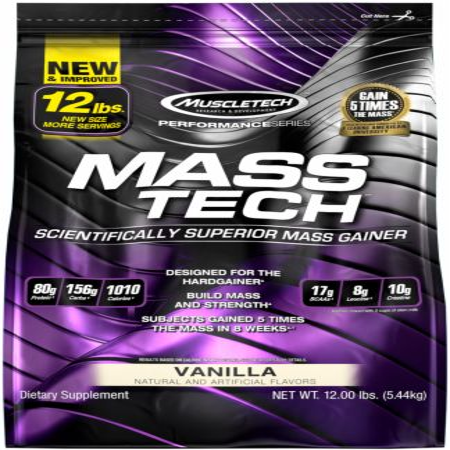 Muscletech Mass Tech Gainer Protein Powder, Vanilla, 60g Protein, 12 Lb - Walmart.com