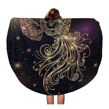 LADDKA 60 inch Round Beach Towel Blanket Magic Space Firebird Stars Clipart Gold Glow and Ornate Travel Circle Circular Towels Mat Tapestry Beach Throw