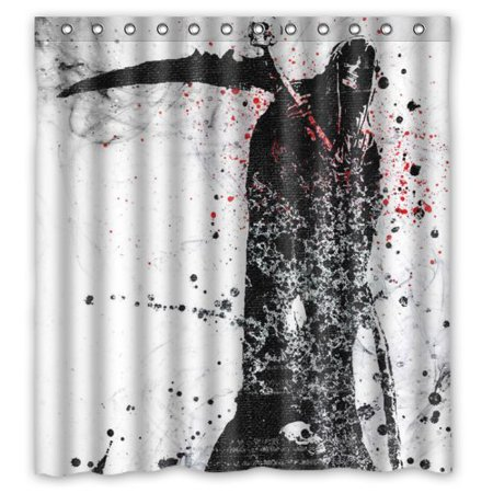 ARTJIA Cool And Horror Anime Design Death Black Red Shower Curtain Waterproof Polyester Fabric Bathroom 66x72 Inch
