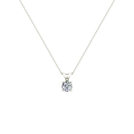 1/2 ct tw SI1 G Natural Round Brilliant Diamond Solitaire Pendant Necklace 14K White Gold (Si1 Round Solitaire)