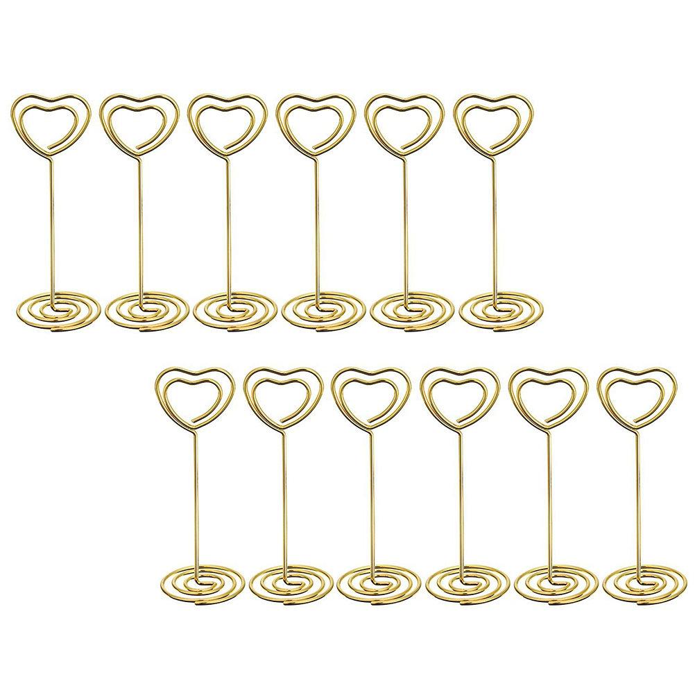 12 Pcs Golden Heart Shape Photo Holder Stands Table Number Holders Place  Card Paper Menu Clips