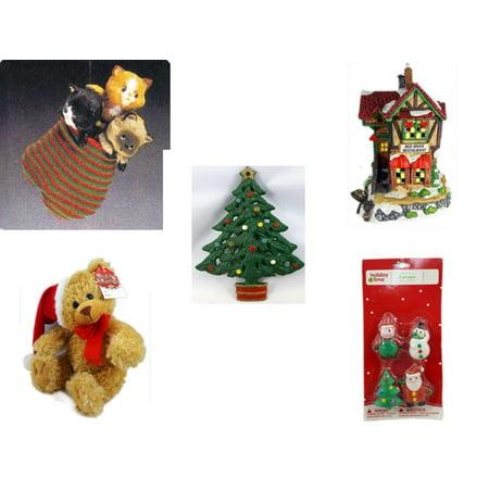 Christmas Fun Gift Bundle [5 Piece] - Hallmark Three Kittens in a Mitten Ornament QX4311 -  Village