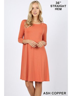 f786ba778b Product Image Premium Fabric 3 4 Sleeve Flare Dress w  Pockets-1