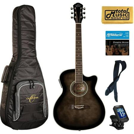 Oscar Schmidt OACEFTB Select Spruce Catalpa Auditorium Acoustic-Electric Guitar Bundle w/Bag, OACEFTB BAGPACK
