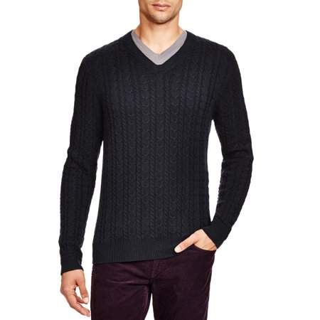 Wool Cashmere Cable (Bloomingdales Mens Wool & Cashmere Cable V-Neck Sweater Large L Dark Charcoal )