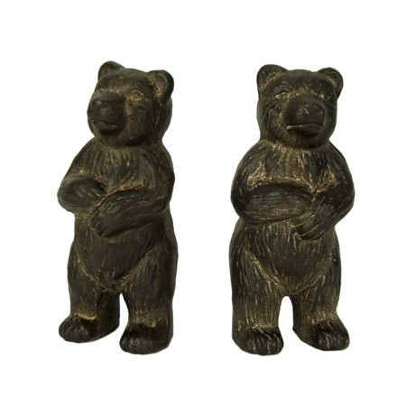 Rustic Brown Cast Iron Standing Bear Bookends Bull Bear Bookends