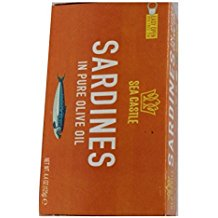 Sea Castle Sardines In Pure Olive Oil Kosher For Passover 4.4 Oz. Pack Of 1.