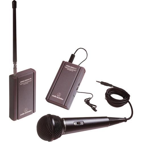 Audio Technica Professional VHF Wireless Lavaliere And Hand-Held Camcorder Microphone System