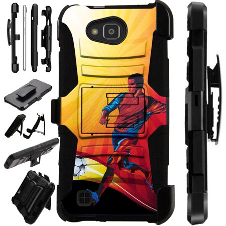 For LG X Power 2 LV7 | Fiesta | Fiesta 2 | K10 Power | X Charge Case Hybrid Phone Cover LuxGuard Holster (Soccer Kick)