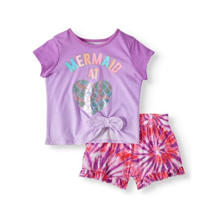 Side-Tie Top & Print Ruffle Shorts, 2pc Outfit Set (Toddler Girls) - Girls Valentines Clothes