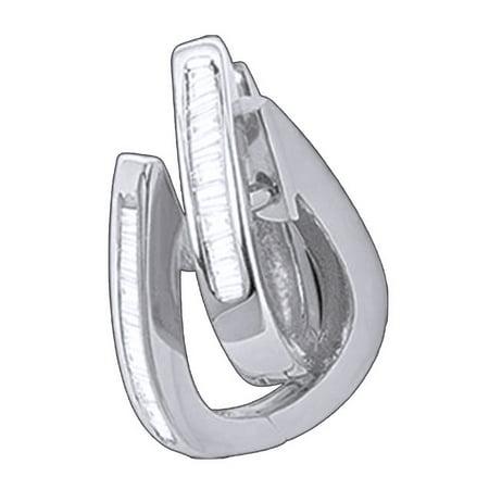 Ladies Baguette Cut Natural Diamond Huggies Hoop Earrings In 10K Solid White Gold (1/4 Ct)