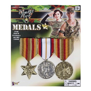 Combat Hero Costume Medals 3 Per Set