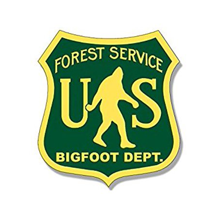 US Forest Service BIGFOOT DEPT Sticker Decal (funny sasquatch hunter big) Size: 4 x 4 inch