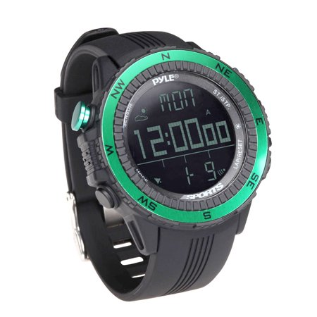 PYLE-SPORT PSWWM82GN - Digital Multifunction Active Sports Watch with Altimeter, Barometer, Chronograph, Compass, Count-Down Timer, Measuring & Weather Forecast Modes