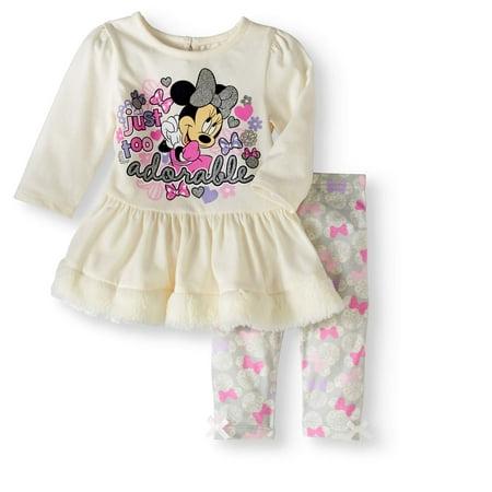 eab86f44a8a Minnie Mouse - Disney Newborn Baby Girl Fur Trim Top With Legging ...