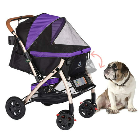 Carrie Rover Stroller (HPZ Pet Rover XL Extra-Long Premium Heavy Duty Dog/Cat/Pet Stroller Travel Carriage with Convertible Compartment/Zipperless Entry/Pump-Free Rubber Tires for Small, Medium, Large Pets)