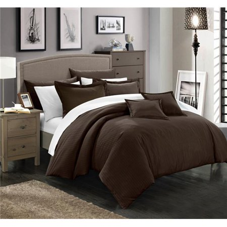 Chic Home CS3942-BIB-US 11 Piece Kennon Down Alternative Jacquard Striped Full & Queen Comforter Set, Brown with Sheet Set