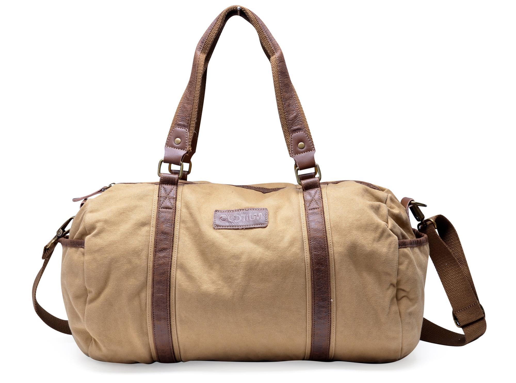 Gootium Vintage Canvas Duffel Bag Travel Tote Shoulder Gym Bag Weekend Bag