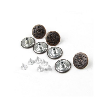 Carved Flower Buttons (Unique Bargains Replacement Part Brown Metal Carved Word Jeans Buttons 7pcs)