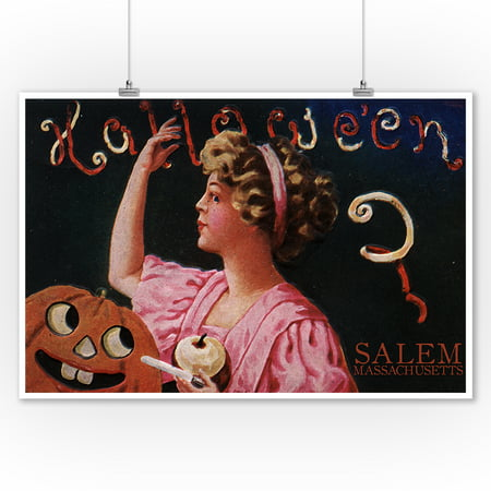 Salem, Massachusetts - Halloween Woman & Jack-O-Lantern - Vintage Postcard (9x12 Art Print, Wall Decor Travel Poster)](Ebay Postcards Vintage Halloween)