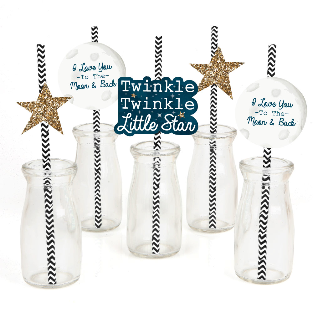Twinkle Little Star - Paper Straw Decor - Baby Shower or Birthday Party Striped Decorative Straws - Set of 24