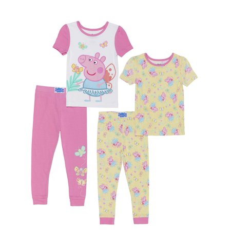 Peppa Pig Cotton tight fit pajamas, 4pc set (toddler - Girls Pajama Sale