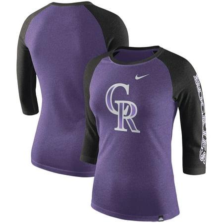 Colorado Rockies Nike Women's Tri-Blend 3/4-Sleeve Raglan T-Shirt - (Asap Rocky Fashion Style)