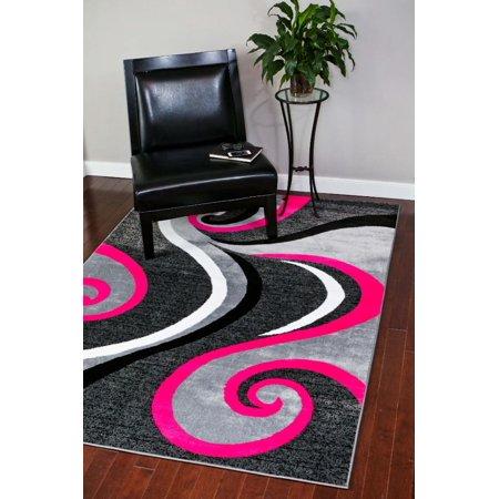 Persian Rugs 0327 Pink Swirl Design Contemporary Area Rug