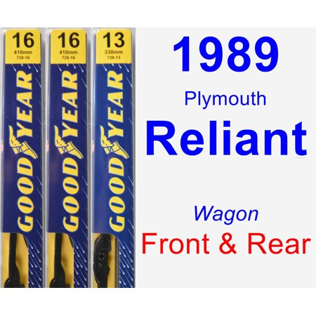 1989 Plymouth Reliant Coupe (1989 Plymouth Reliant Wiper Blade Set/Kit (Front & Rear) (3 Blades) -)