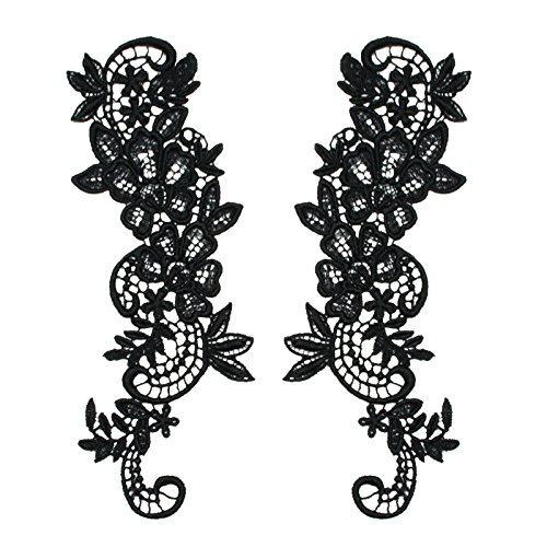 12 Colors Pair of Floral Venice Lace Applique Embroidered Bridal Guipure Patch Motif (2 Pieces) (Black)