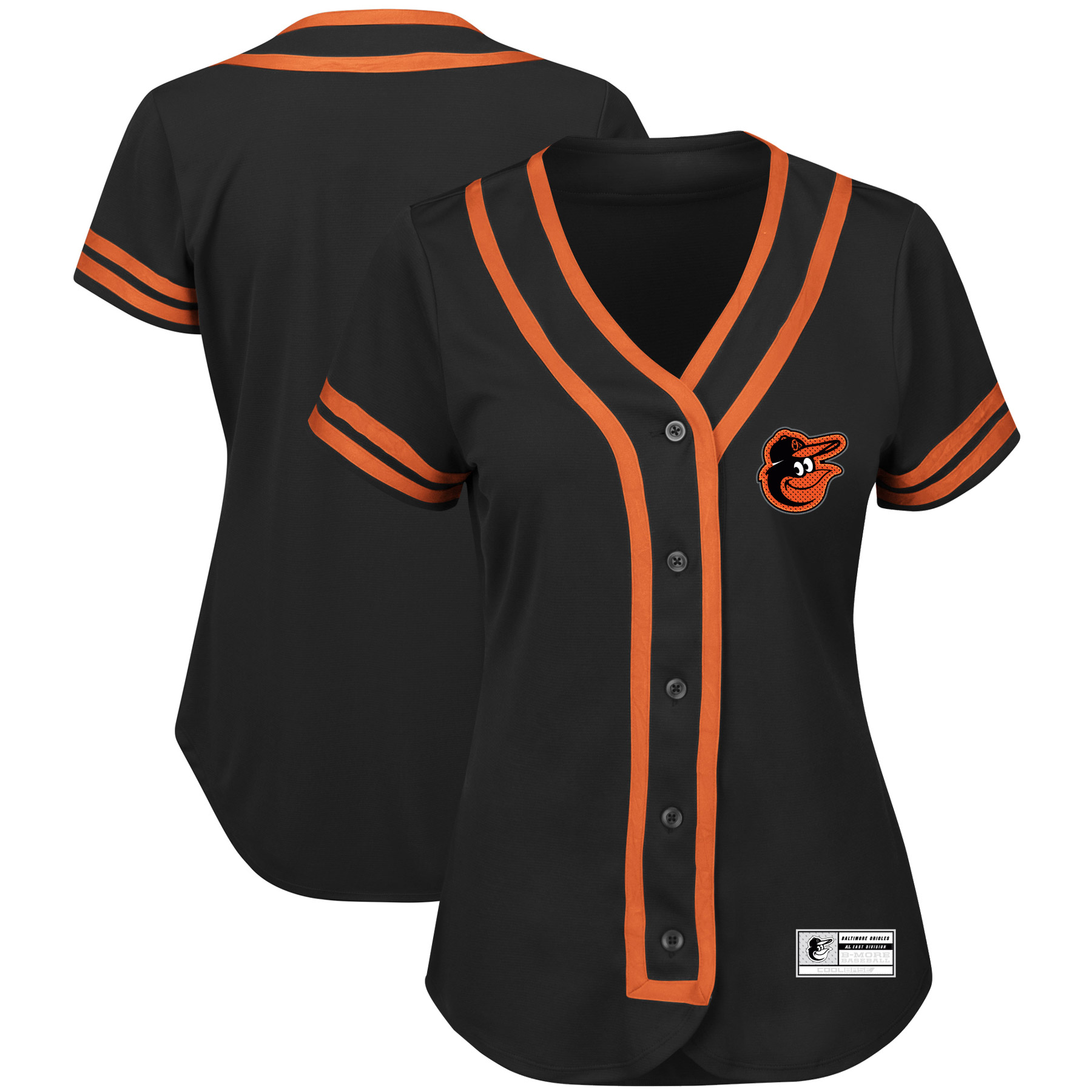 Baltimore Orioles Majestic Women's Fashion Absolute Victory Cool Base Team Jersey Black Orange by MAJESTIC LSG
