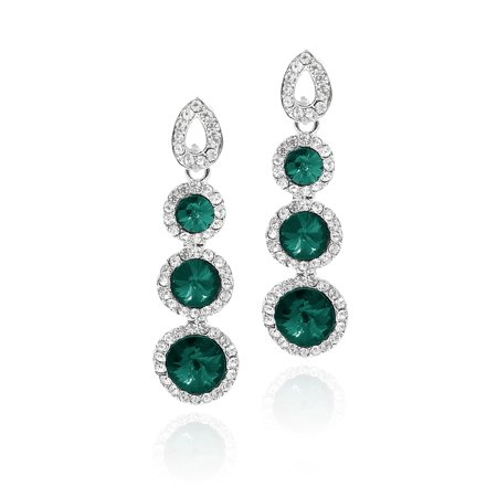 Women Long Circular Rhinestone Drop Dangle Hook Earring Ear Stud -
