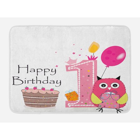 1st Birthday Bath Mat First Surprise Cake Candle Sketchy Cartoon Owl Image Non