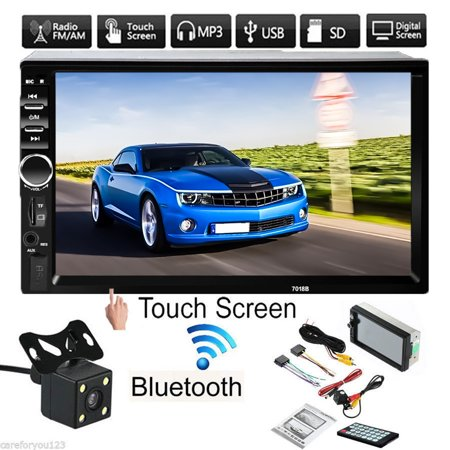 HD1080P 7'' Touch Screen Car MP5 Player 2 Din Radio AM/FM AUX Bluetooth USB Stereo Receiver MP3 MP5 CD DVD In-Dash Player For Car with Waterproof HD Night Light Rearview Camera ()