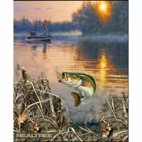 """Realtree Fabrique Innovations Cotton 36"""" x 44"""" Bass Quilting Fabric, 1 Each"""