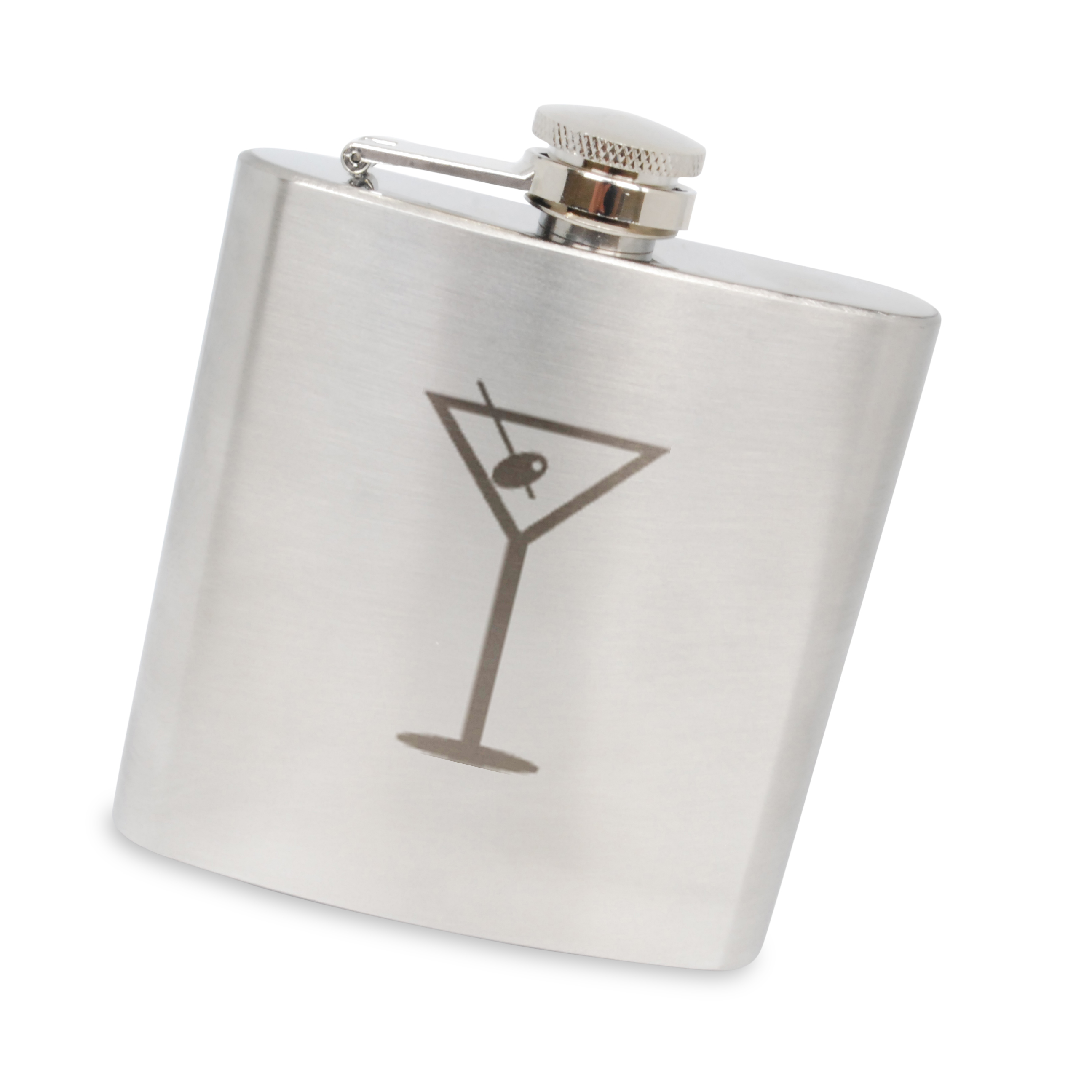 Martini Olive Stainless Steel 6 Oz Flask. Made In The Usa. by BigSpool Distributors