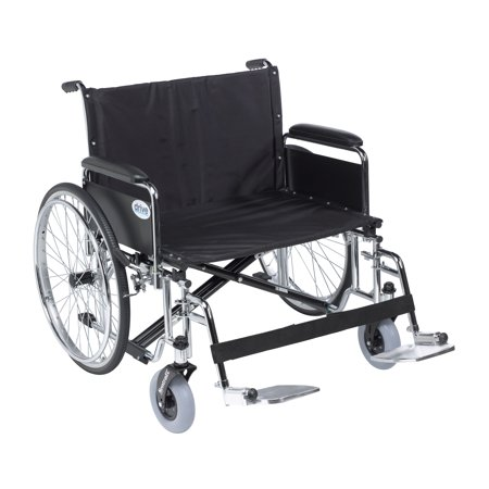 Wide Detachable Full Arms - Drive Medical Sentra EC Heavy Duty Extra Wide Wheelchair, Detachable Full Arms, Swing away Footrests