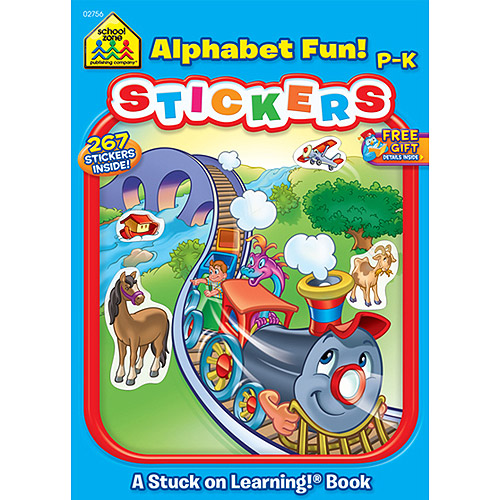 School Zone Sticker Workbook, Alphabet Fun, Grades P-K