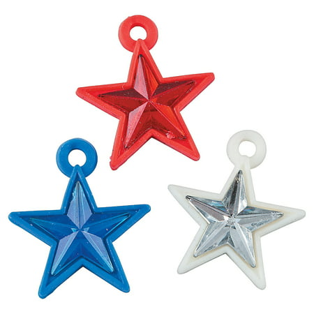 Fun Express - Patriotic Star Rubber Charms for Fourth of July - Craft Supplies - Kids Beading - Plastic Beads - Fourth of July - 48 Pieces - 4th Grade Halloween Arts And Crafts