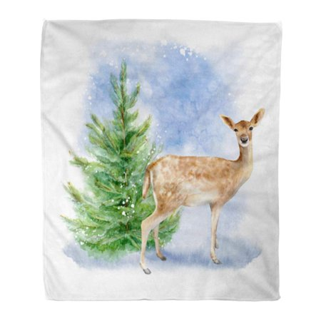 ASHLEIGH Throw Blanket Warm Cozy Print Flannel Watercolor Abstract Forest Deer and Spruce Branches Winter Landscape More Comfortable Soft for Bed Sofa and Couch 58x80 Inches ()