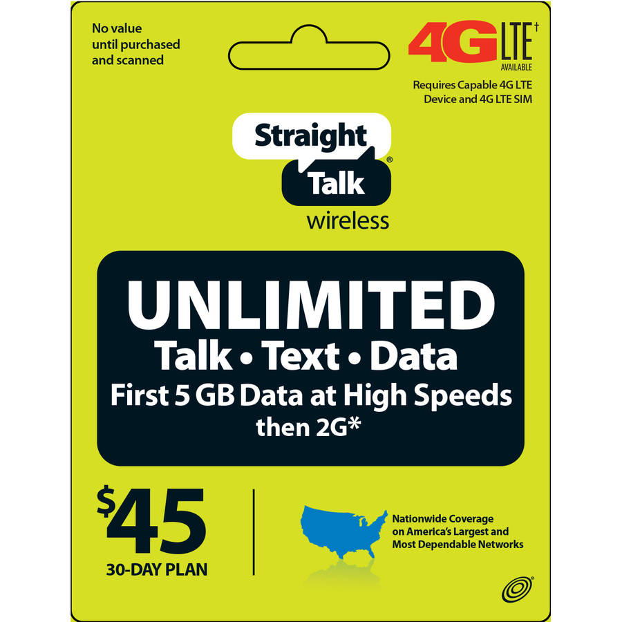 Straight Talk Unlimited $45 Text, Talk and Web Access 30-Day Service (Direct Account Load)