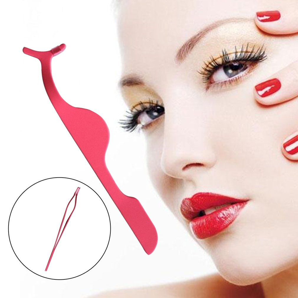 Rose red Multifunctional False Eyelashes Plastic Auxiliary Clip Tweezers Tool
