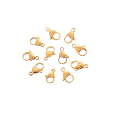 10pcs Stainless Steel Gold Lobster Claw Clasp Fastener Hook Findings 12x8mm