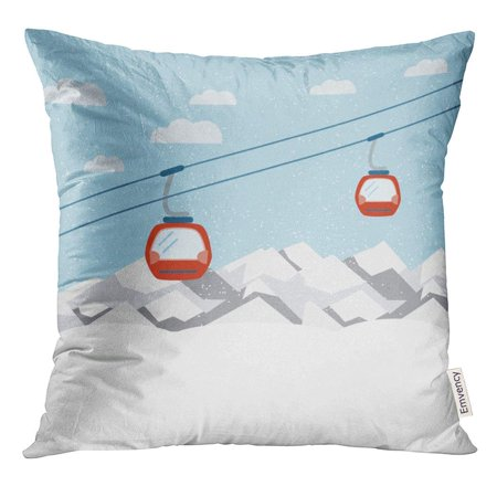 EREHome Blue Cable Red Ski Lift Gondolas Moving in Snow Mountains Car Pillow Case 18x18 Inches Pillowcase - image 1 of 1