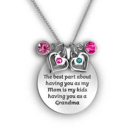 Silver & Crystal Hearts Mom Necklace Gifts For Grandma | Grandma And Mom Charm Necklace | Mother Daughter Necklace & Grandma Necklace | Three Generations Gifts | Pendant with Charms & Crystals](Mother Daughter Charms)
