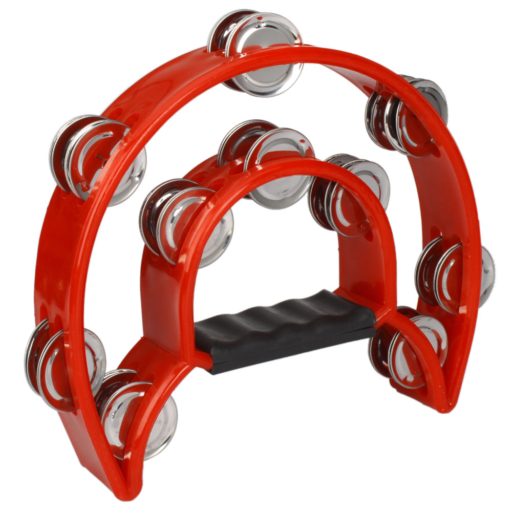 Ktaxon Hand Held Tambourine Double Row Metal Jingles Percussion Red by